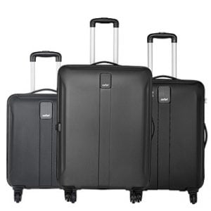 Safari Thorium Sharp Anti-Scratch Combo Set of 3 Black Small, Medium & Large Check-in 4 Wheel Hard Suitcase for Rs.7,999 + Rs.1000 Cashback – Amazon