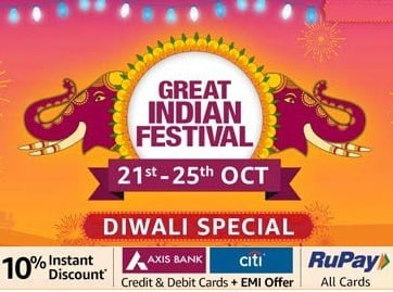 Amazon Great Indian Festival: Deep Discounted Deals & Offers + 10% Extra off with AXIS & CITI Debit /Credit Cards and All Rupay Cards (SALE LIVE at 12 PM TODAY for PRIME MEMBERS)