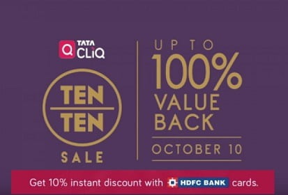Tatacliq Festival Treats: upto 80% off on Home Appliances, Electronics & Fashion + 10% Extra Off on HDFC Debit / Credit Cards