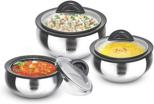 Milton Clarion Jr Stainless Steel Gift Set Casserole with Glass Lid, Set of 3 for Rs.1499 – Amazon
