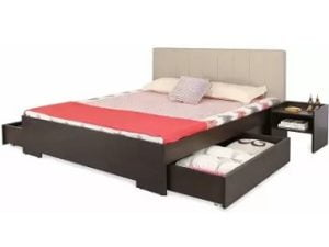 Forzza Troy Upholstered 2 Storage Engineered Wood Queen Drawer Bed for Rs.16,999 – Flipkart