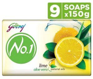Godrej No.1 Bathing Soap – Lime & Aloe Vera (150g x 9)