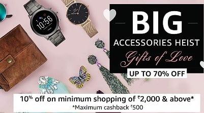 Get 10% Cashback on all Prepaid orders of Watches, Luggage, Handbags, Eyewear & Jewellery @ Amazon