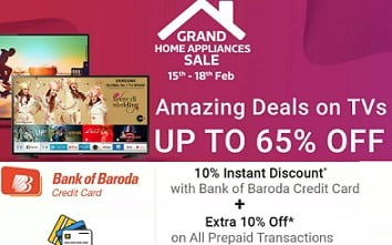 LED TV upto 65% Off + Extra 10% Off on Pre-paid Orders + 10% Off on BOB Credit Card @ Flipkart