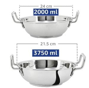 Solimo Stainless Steel Induction Bottom Kadhai (2 pcs, 2000ml and 3750 ml) for Rs.689 – Amazon