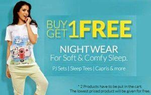 Buy 1 Ladies Nightwear Get another Free @ Zivame