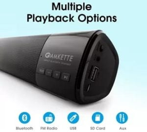 Amkette Boomer Compact Bluetooth Soundbar 10W for Rs.1499 – Flipkart