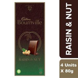 Cadbury Bournville Raisin and Nuts Dark Chocolate Bar, 80g each (Pack of 4)
