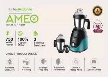 Crompton Maxi Grind Ameo 750 Mixer Grinder 3 Jars for Rs.3179 – Amazon
