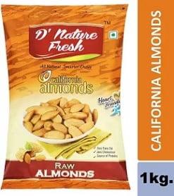 D NATURE FRESH California Almonds 1kg (2x500g) for Rs.839 – Flipkart