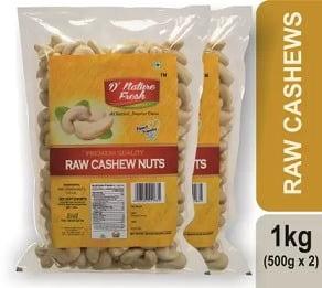 D NATURE FRESH RAW CASHEWS (500g x 2) for Rs.753 – Flipkart