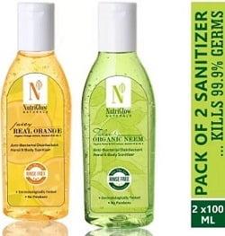 NutriGlow NATURAL'S Neem & Orange Sanitizer  (2 x 100 ml)