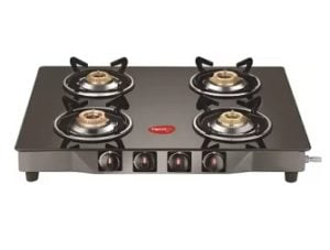 Pigeon Brunet Stainless Steel, Glass Manual Gas Stove (4 Burners)
