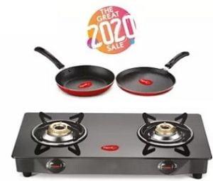 Pigeon Stainless Steel Manual Gas Stove  (2 Burners) + Flat tawa 250 + Fry Pan 240