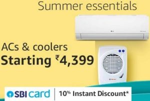 Air Conditioners & Coolers upto 70% off + Extra 10% off with SBI Credit Card @ Amazon