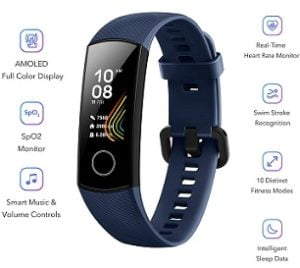 HONOR Band 5 Full Color AMOLED Touchscreen, SpO2 Monitor, Music Control, Sports Modes, Sleep Monitor, Heart Rate Monitoring