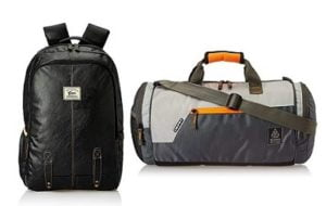 Gear Classic Anti Theft Faux Leather 20 Ltrs Laptop Backpack & Gear Polyester 38 cms Travel Duffle for Rs.1094- Amazon