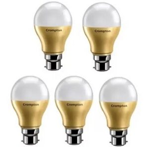 Crompton 9 W Round B22 LED Bulb (White Pack of 5) for Rs.389 @ Flipkart