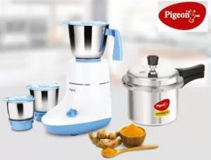 Pigeon Glory 550 W Mixer Grinder 3 Jars with IB 3 Ltr Pressure Cooker for Rs.2140 – Flipkart