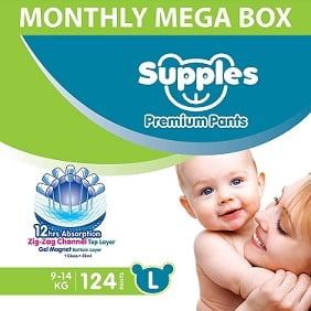 Supples Baby Diaper Pants, Monthly Mega-Box, Large, 124 Count for Rs.1134 – Amazon