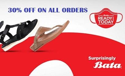 Bata Footwear – Get 30% Off on All Orders @ Bata