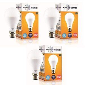 Wipro Garnet Non Rechargeable 15 Watt LED Bulb (Pack of 3)