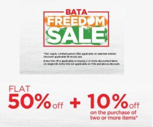 BATA Freedom Sale on Footwear: Flat 50% Off + Extra 10% Off