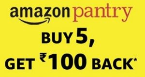 Amazon Pantry – Buy 5 Products & Get Rs.100 Back