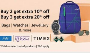 Bags | Watches | Jewellery & more – Buy 2 Get 10% Off and Buy 3 Get 20% Off @ Amazon