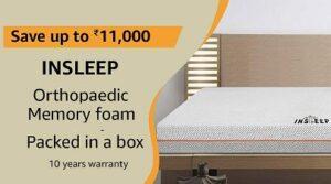 Insleep Orthopaedic Memory Foam Mattress in a Box – 78X48X8 Double for Rs.10500 @ Amazon