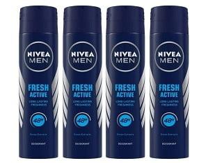 NIVEA Men Deodorant Fresh Active Original 150ml (Pack of 4) for Rs.318 @ Amazon