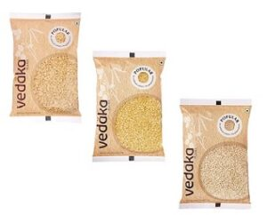 Vedaka Combo Pack of 3 (Toor dal 1kg + Moong dal 1kg + Urad Split 1kg) for Rs.383 @ Amazon Pantry