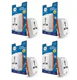 Wipro North West 3 Way Multiplug_4 Three Pin Plug for Rs.439 @ Flipkart