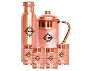 MBS Copper Glass, Jug And Bottle 6 Pieces (300 ml, 1500 ml, 1000 ml)