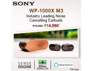 Sony WF-1000XM3 Truly Wireless Bluetooth Earbuds with Battery Life 32 Hours, Alexa Voice Control for Rs.14990 @ Amazon