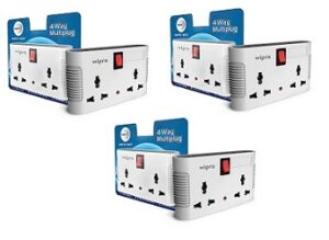 Wipro 4 Way Multiplug with Two Universal Sockets (Pack of 3) for Rs.519 @ Amazon