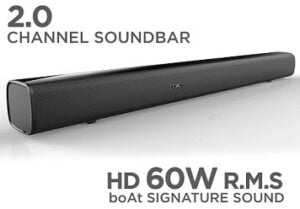 boAt AAVANTE BAR 1160 60W Bluetooth Soundbar with 2.0 Channel boAt Signature Sound for Rs.2999 @ Amazon