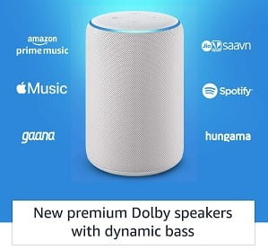 Amazon Echo (3rd Gen) – Improved sound powered by Dolby for Rs.5999 @ Amazon