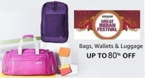 Amazon Great Indian Festival: Up to 80% Off on Luggage+10% Extra off with AMEX / CITI / RBL / RUPAY Card @ Amazon