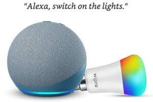 Echo Dot (4th Gen) Combo with Wipro 9W LED Smart Color Bulb for Rs.3549 @ Amaon