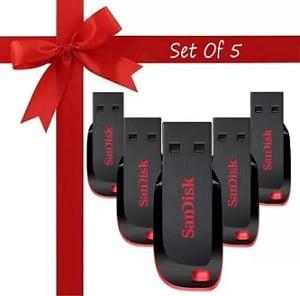 SanDisk Cruzer Blade 32 GB Pen Drive (Pack of 5) for Rs.349 @ Flipkart