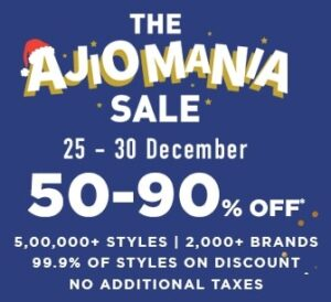 AJIO MANIA SALE: 50% – 90% off on Fashion Styles + 10% Extra off with AXIS Cards