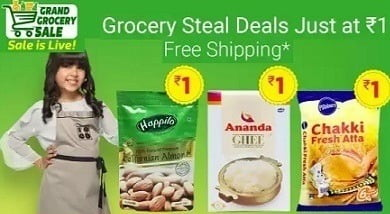 Flipkart Grand Grocery Sale: Rs.1 Deal- Sugar 1Kg, Almond 100g and more
