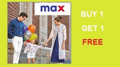 MAX Clothing – Buy 1 Get 1 Free Offer @ Flipkart