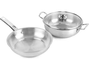 Cello Induction Base Stainless Steel Fry Pan & Kadai Set Pot 2 L with Lid