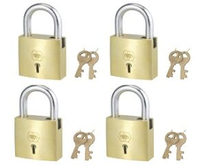 Harrison A-1-0003_PK 4 Brass 4 Levers Padlock with 2 Keys (Pack of 4)