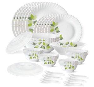 Larah by Borosil Green Leaves Silk Series Opalware Dinner Set, 35 Pieces
