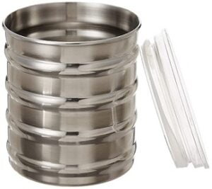 Solimo Stainless Steel Ribbed Canisters Set of 2 (10 cm)