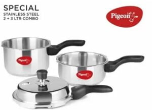 Pigeon Stainless Steel Combo of 2 L, 3 L Induction Bottom Pressure Cooker for Rs.1599 @ Flipkart