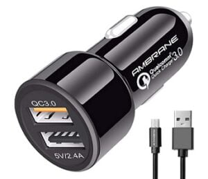 Ambrane 5.4A Dual USB Rapid Car Charger (Qualcomm Certified) for Rs.323 @ Amazon